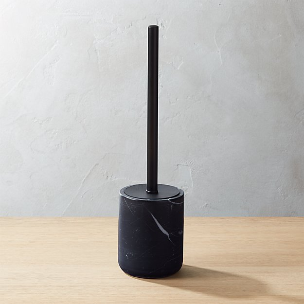 CB2 Black Marble Toilet Brush