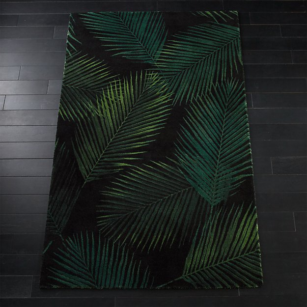 Night Palms Black Palm Lead Rug Cb2