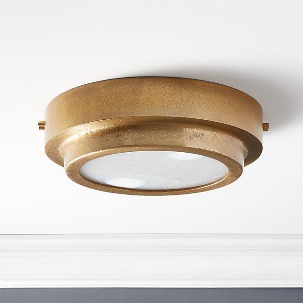 Nina Alabaster Brass Flush Mount Light - Image 1 of 7