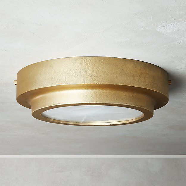 Nina Alabaster Brass Flush Mount Light Large - Image 1 of 6