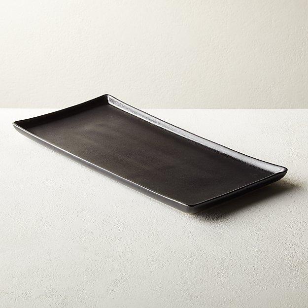 Nita Rectangular Black Serving Platter - Image 1 of 6