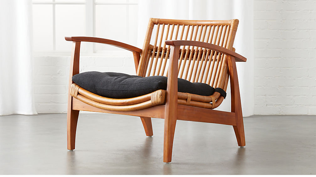 Noelie Rattan Lounge Chair With Cushion Reviews Cb2
