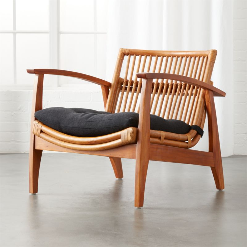 Noelie Rattan Lounge Chair with Cushion & Rattan Living Room Chair | CB2