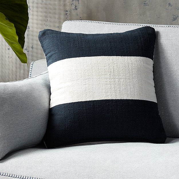 20 Noren Navy Blue And White Pillow Cb2