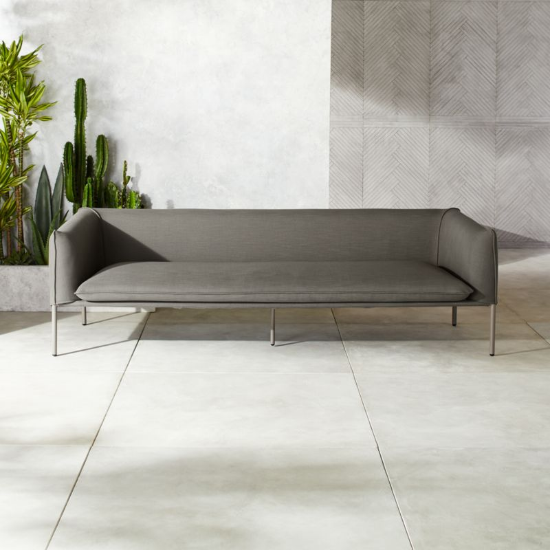 Novara Grey Outdoor Sofa + Reviews   CB2