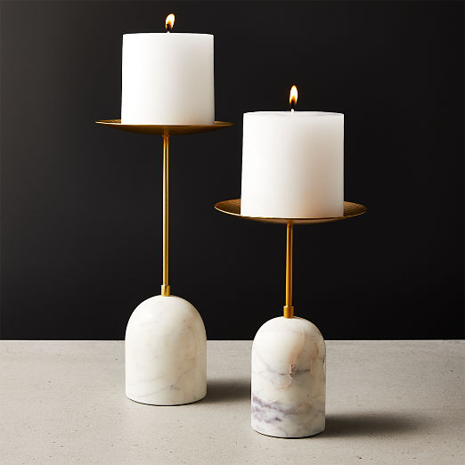 Numa Marble and Brass Pillar Candle Stands