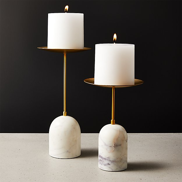 Numa Marble and Brass Pillar Candle Stands - Image 1 of 9
