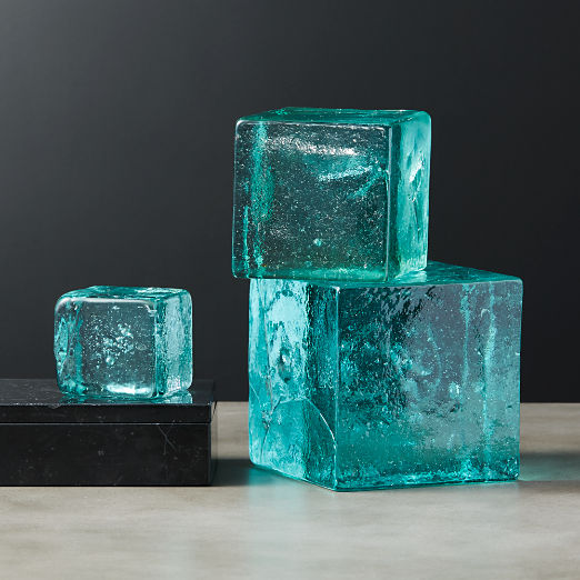 Recycled Glass Cubes Set of 3