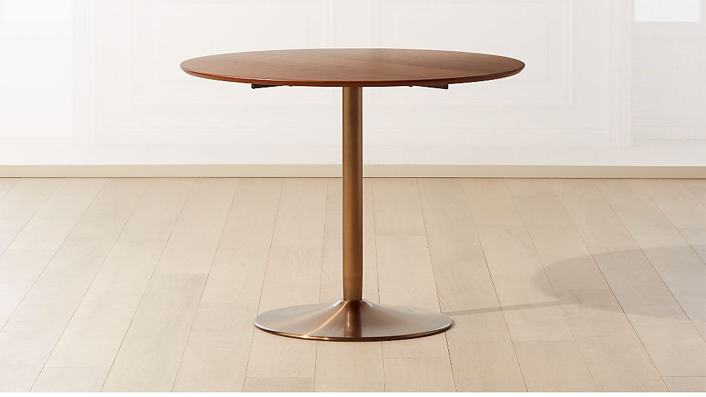 Odyssey Brass/Wood Dining Table - Image 1 of 5