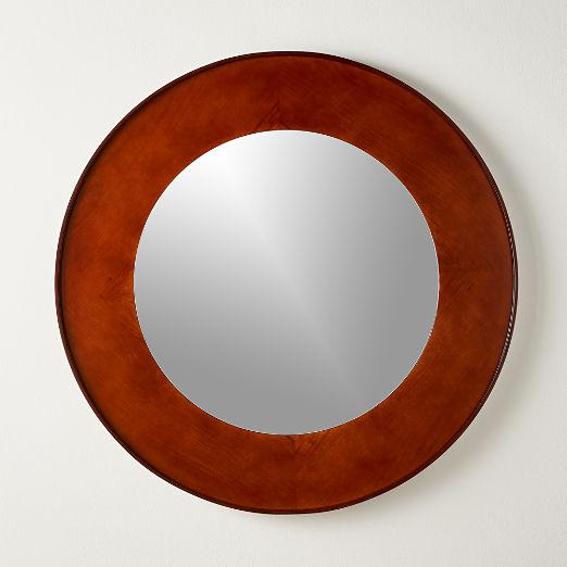 """Round Olive Wood Mirror 48"""""""