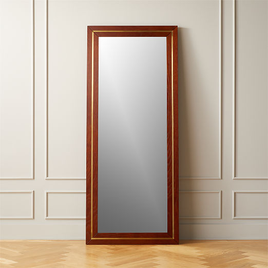 Olivewood and Brass Floor Mirror