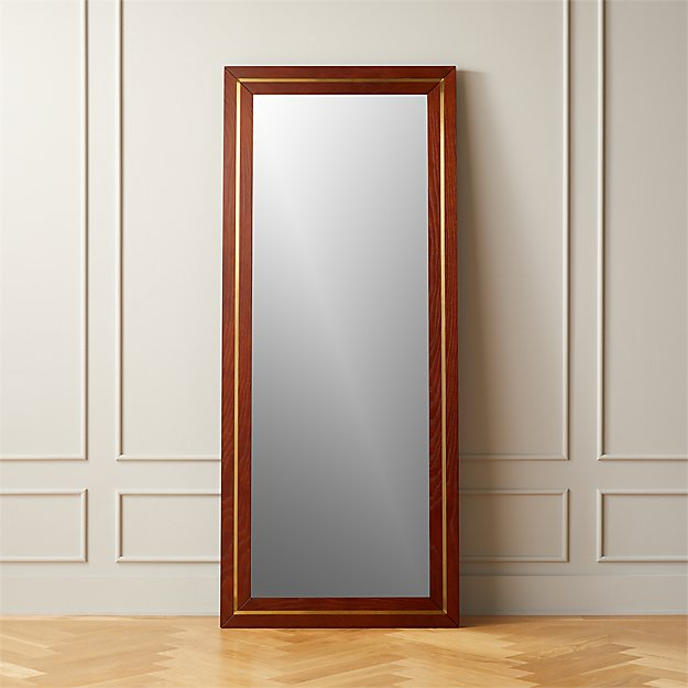 Olivewood and Brass Floor Mirror - Image 1 of 4