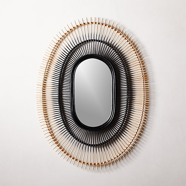Ombre Rattan Mirror - Image 1 of 8