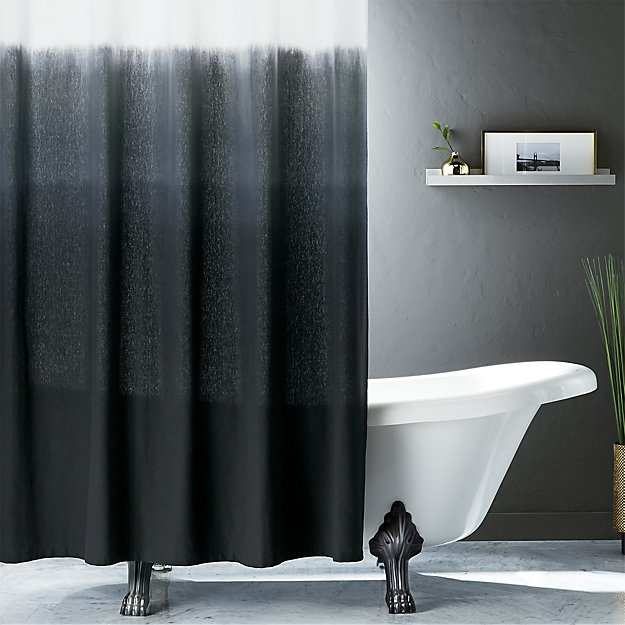 Gentil Ombre Black Shower Curtain + Reviews | CB2