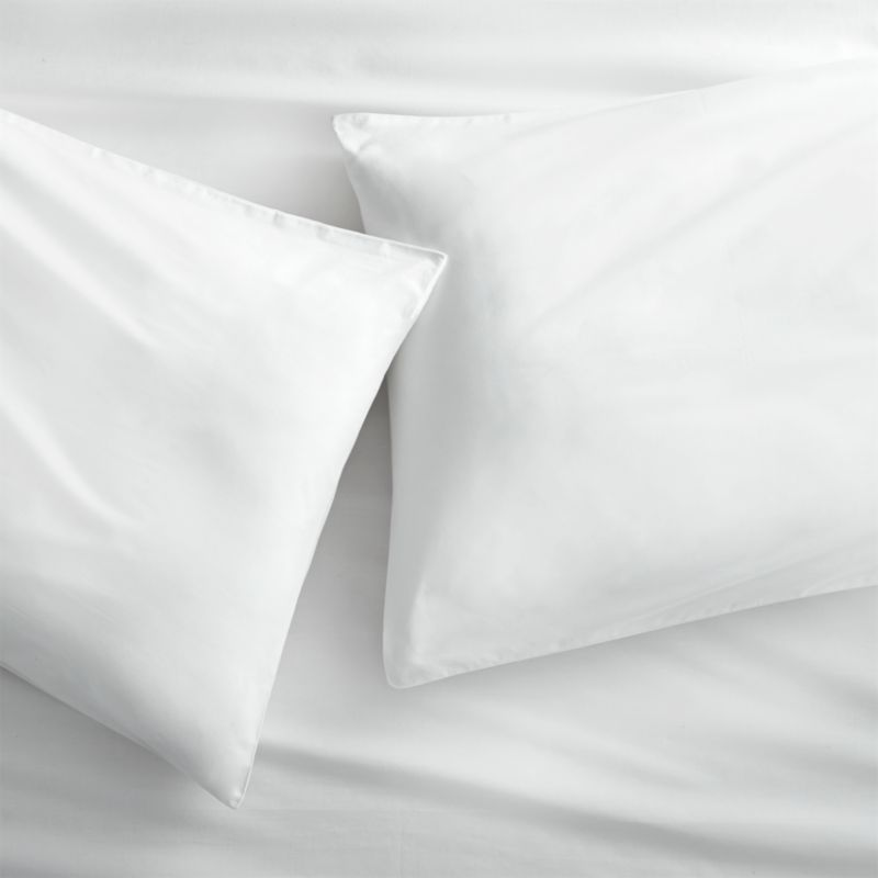 organic white percale standard pillowcases set of 2 + Reviews | CB2