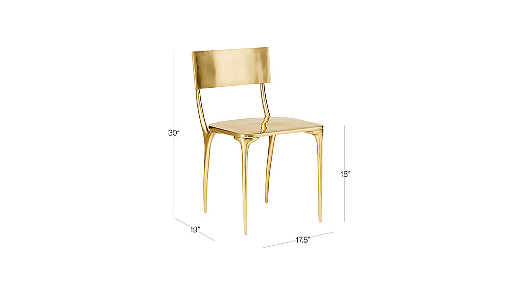 Image with dimension for Oro Gold Dining Chair