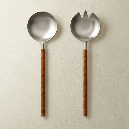 Osorio Leather Wrapped Salad Servers Set of 2