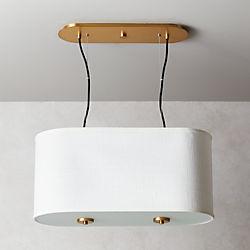 Oval White Drum Pendant Light