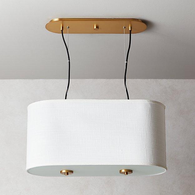 Oval White Drum Pendant Light - Image 1 of 8