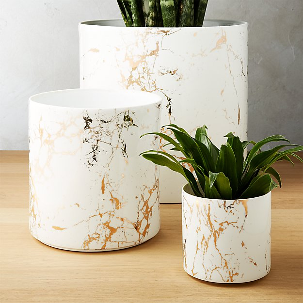Palazzo Marbleized White And Gold Planters Cb2