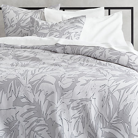 Palm Grey Linen Duvet Cover Cb2