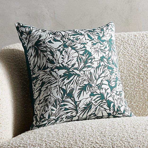 "18"" Palm Linen Evergreen Pillow - Image 1 of 5"