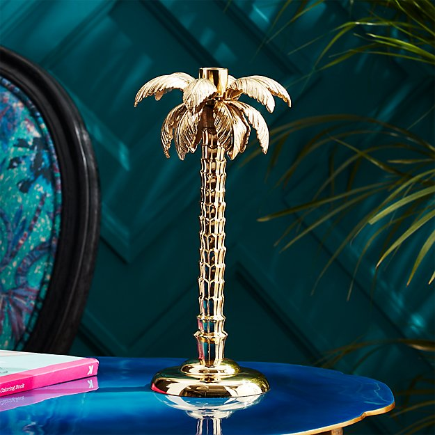 Palm Tree Gold Taper Candle Holder Reviews Cb2