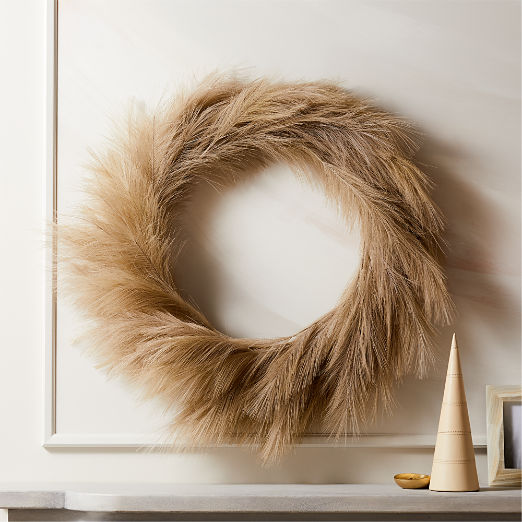 Faux Pampas Taupe Wreath 36""
