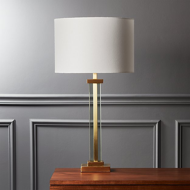 Panes Glass and Brass Table Lamp - Image 1 of 7