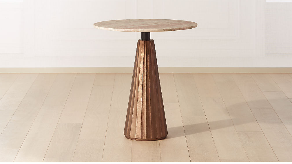 "Paramount Marble Pedestal Table 28"" Bronze/Pink - Image 1 of 5"