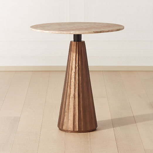 "Paramount Marble Pedestal Table 28"" Bronze/Pink"