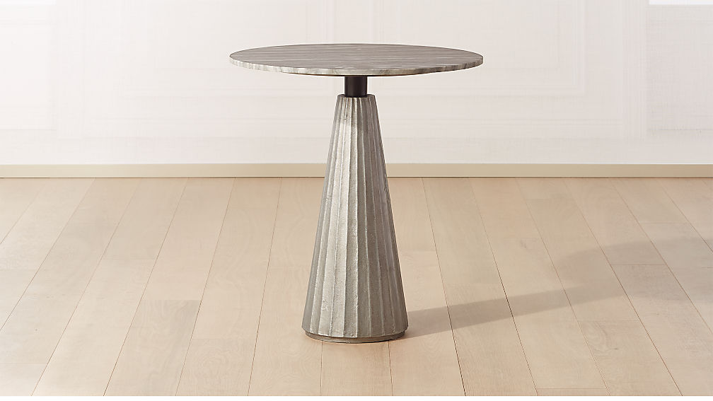 "Paramount Marble Pedestal Table 28"" Silver/Grey - Image 1 of 4"