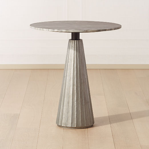 "Paramount Marble Pedestal Table 28"" Silver/Grey"