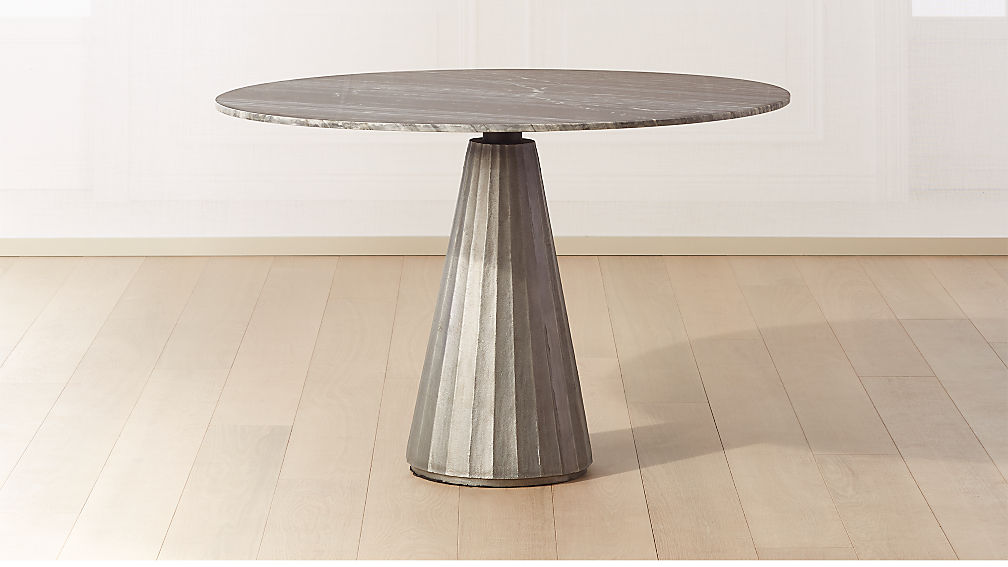 """Paramount Marble Pedestal Table 46"""" Silver/Grey - Image 1 of 5"""