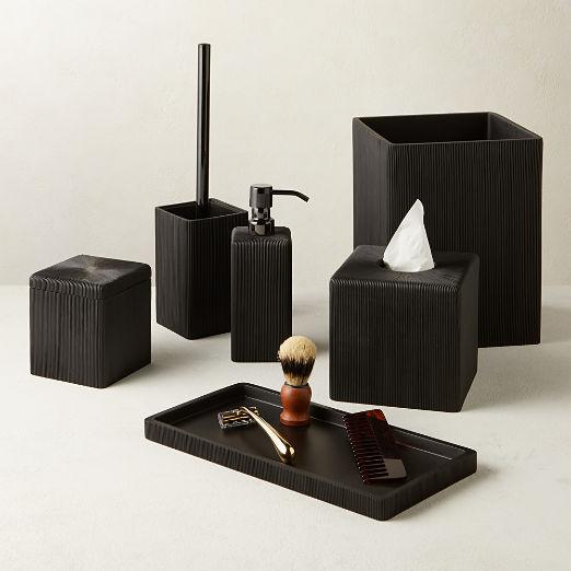 Parello Pleated Black Bath Accessories