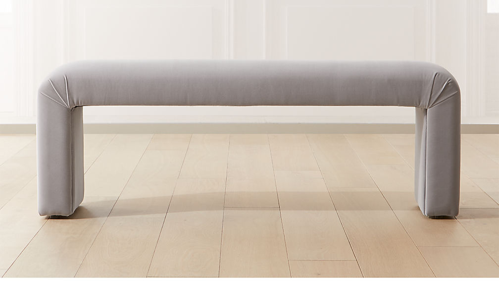 Parisi Grey Velvet Bench - Image 1 of 6