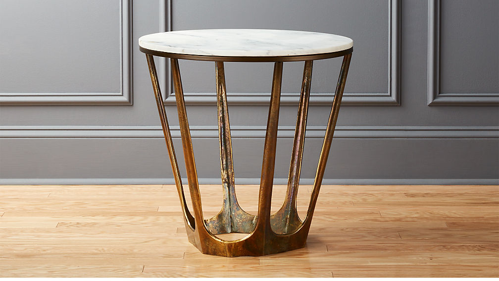 Parker White Marble Side Table - Image 1 of 8