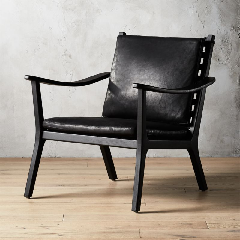 Gentil Parlay Black Leather Lounge Chair