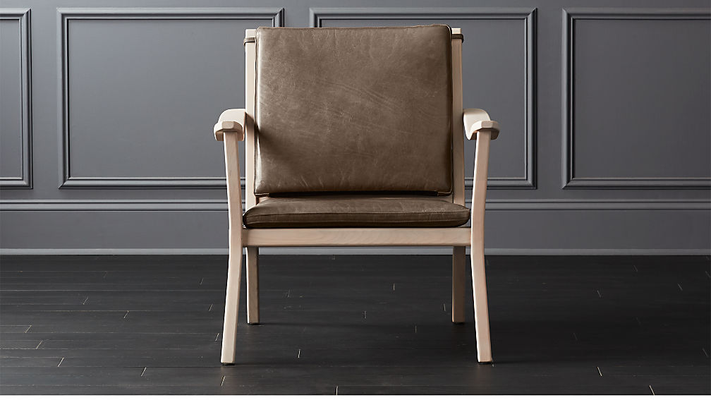 Parlay Dove Grey Leather Lounge Chair Reviews Cb2