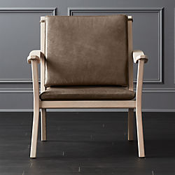 Parlay Dove Grey Leather Lounge Chair