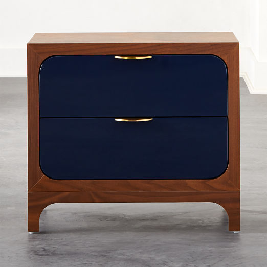 Paterson Lacquered Navy Nightstand