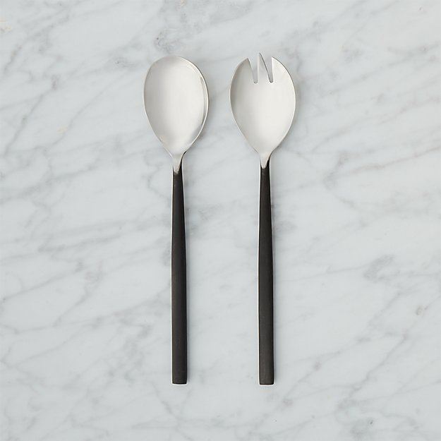Rush Blackened Handle Serving Spoons - Image 1 of 8