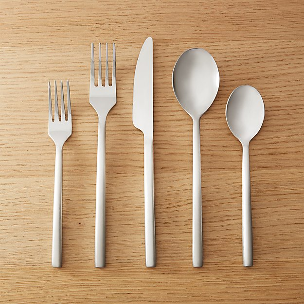 20-Piece Rush Brushed Silver Flatware Set - Image 1 of 9