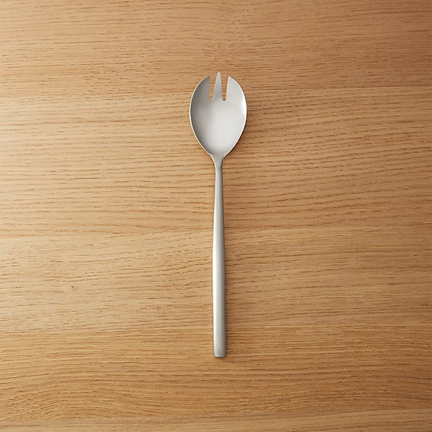 Rush Brushed Silver Slotted Serving Spoon - Image 1 of 6
