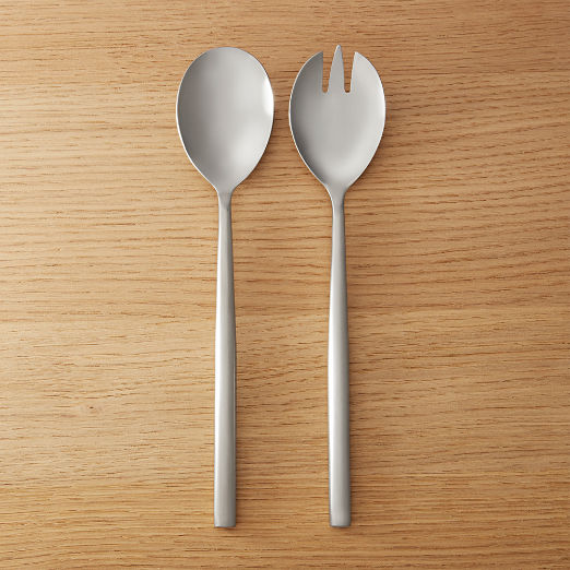 Rush Brushed Silver Slotted Serving Spoon