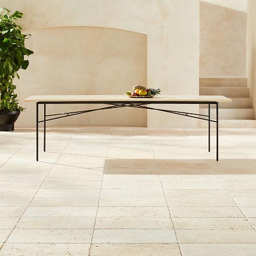 Large Pavilion Travertine Dining Table Model 6142