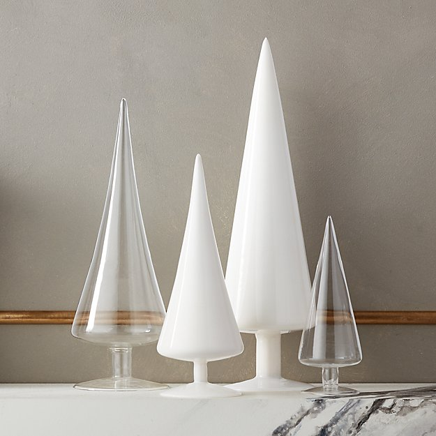 Paz Clear and White Glass Trees Set of 4 - Image 1 of 4