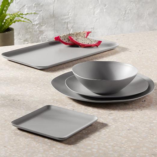 Pebble Matte Grey Melamine Dinnerware