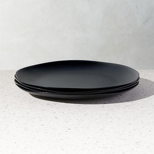 Pebble Matte Black Melamine Dinner Plates Set of 4