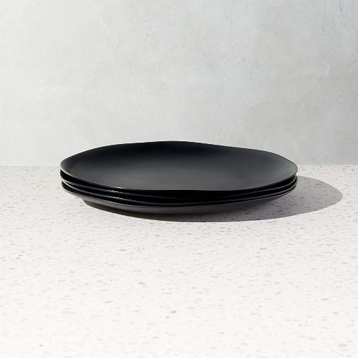 Pebble Matte Black Melamine Salad Plates Set of 4
